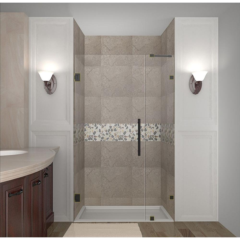 Nautis 29 in. x 72 in. Completely Frameless Hinged Shower Door