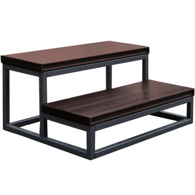 21 in. x 30 in. x 14 in. 2 Tier Spa Step in Smoke