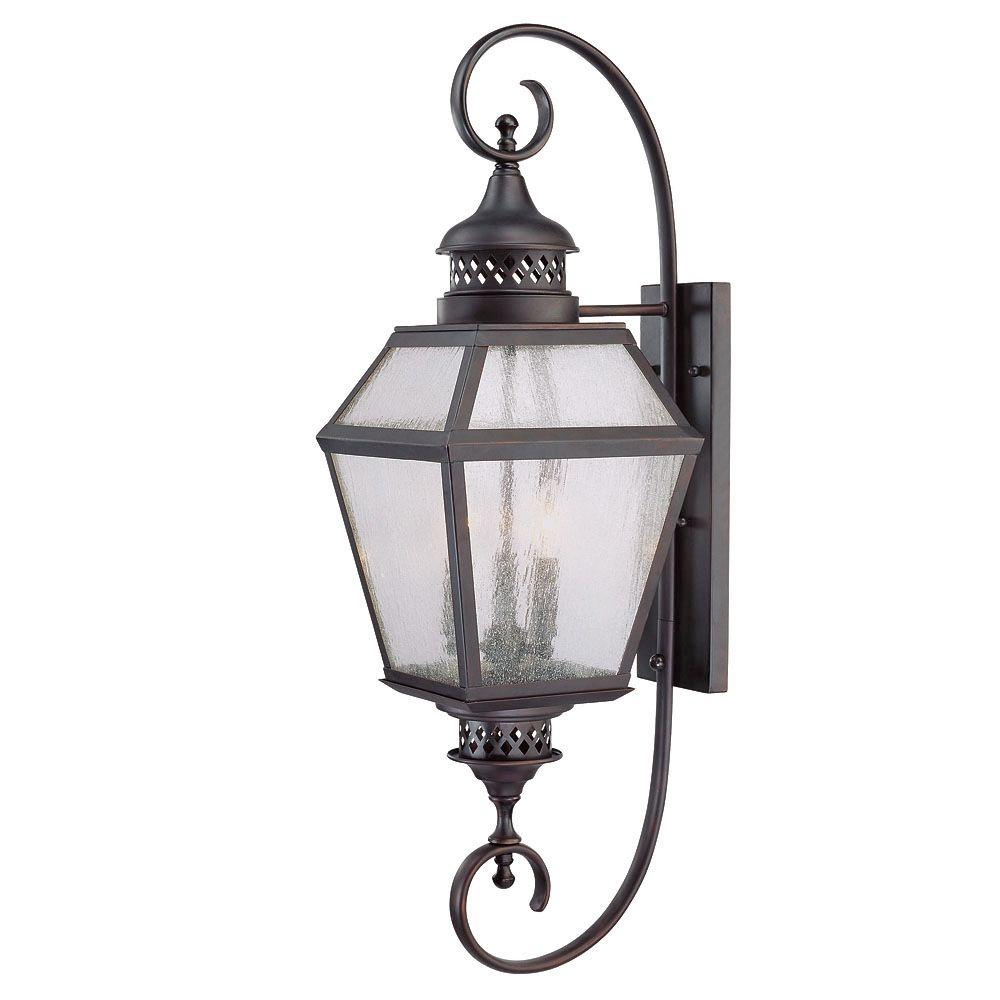 3-Light Outdoor Wall Mount Lantern English Bronze Finish Pale Cream Seeded