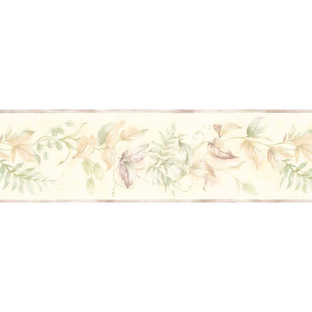 Green Leaf Scroll Wallpaper Border Sample