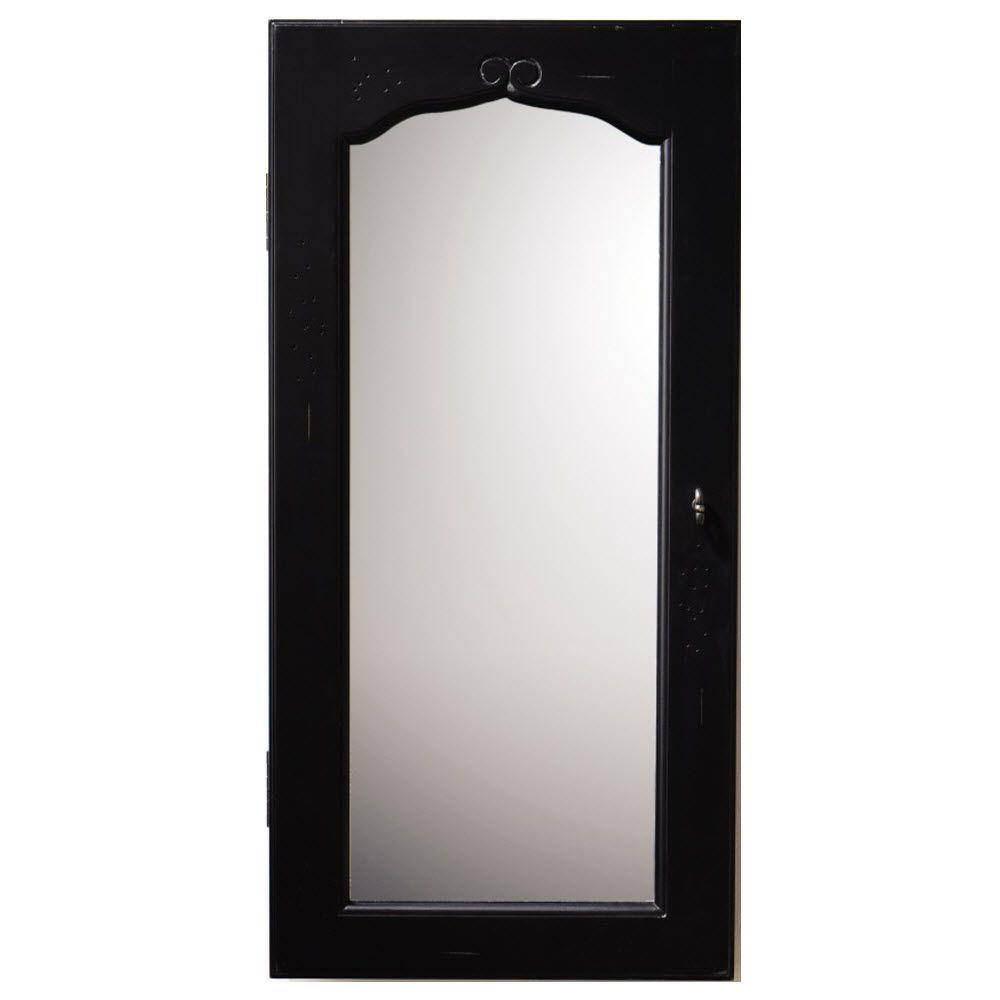 Provence Wall Mount Jewelry Armoire With Mirror In Black