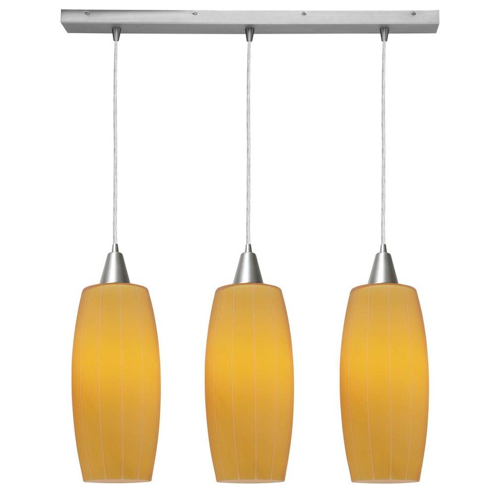 Access Lighting 3-Light Pendant Brushed Steel Finish Amber Glass-DISCONTINUED