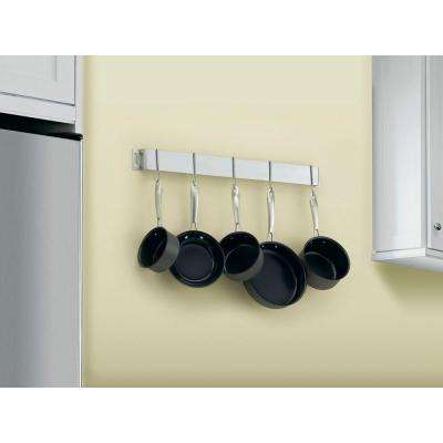 33 in. Bar Wall Pot Rack in Brushed Stainless