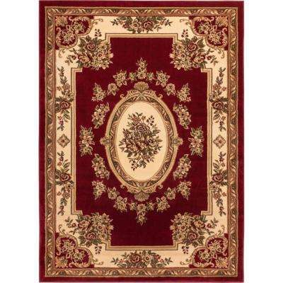 Timeless Le Petit Palais Red 7 ft. x 9 ft. Traditional Classical Area Rug