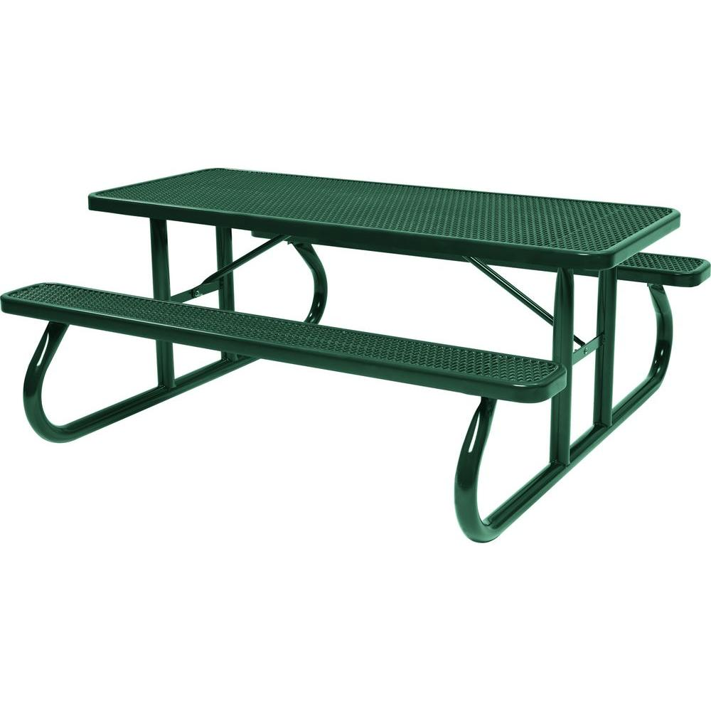 Tradewinds Park 8 Ft Green Commercial Picnic Table Hd