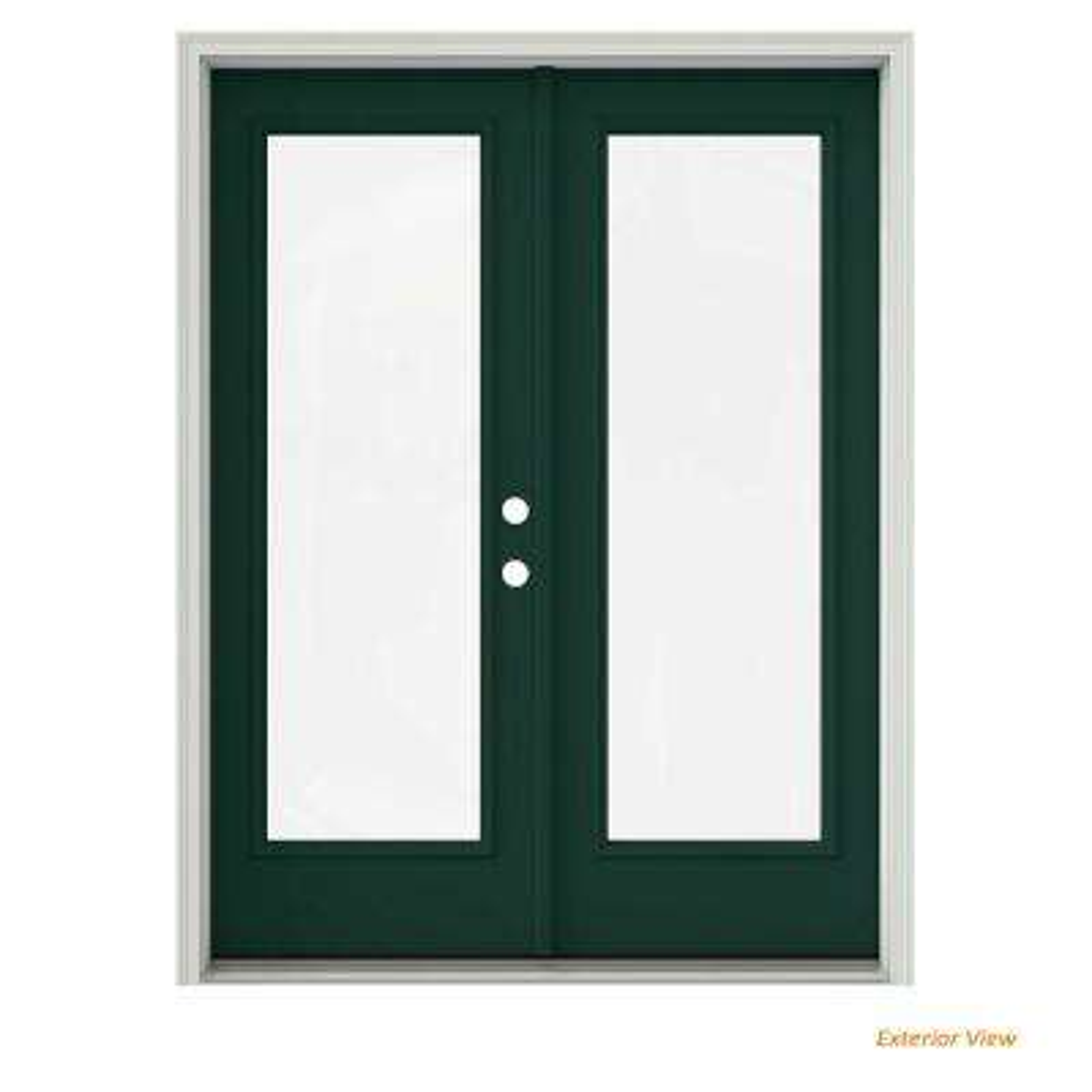 60 in. x 80 in. Hartford Green Painted Steel Left-Hand Inswing Full Lite Glass Active/Stationary Patio Door