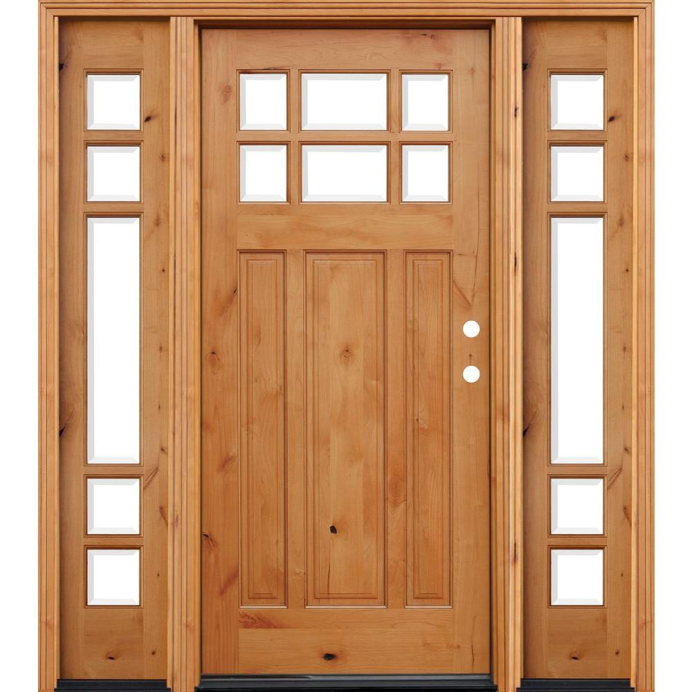 70 in. x 80 in. Craftsman 6 Lite Stained Knotty Alder
