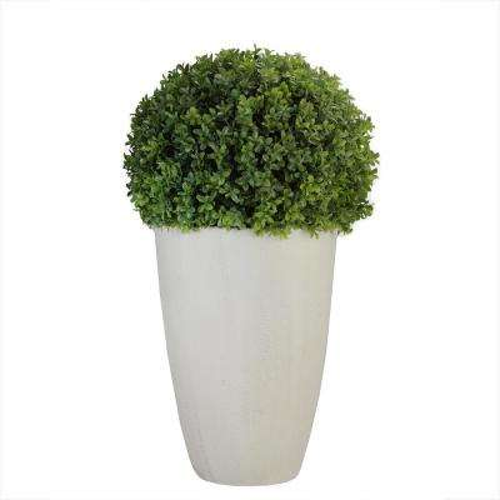27 in. Artificial Boxwood Plant in Decorative Stone Look Ceramic Pot