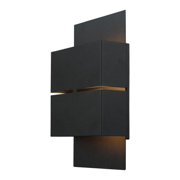Kibea 5.875 in. W x 10.25 in. H Matte Black Outdoor Integrated LED Wall Lantern Sconce