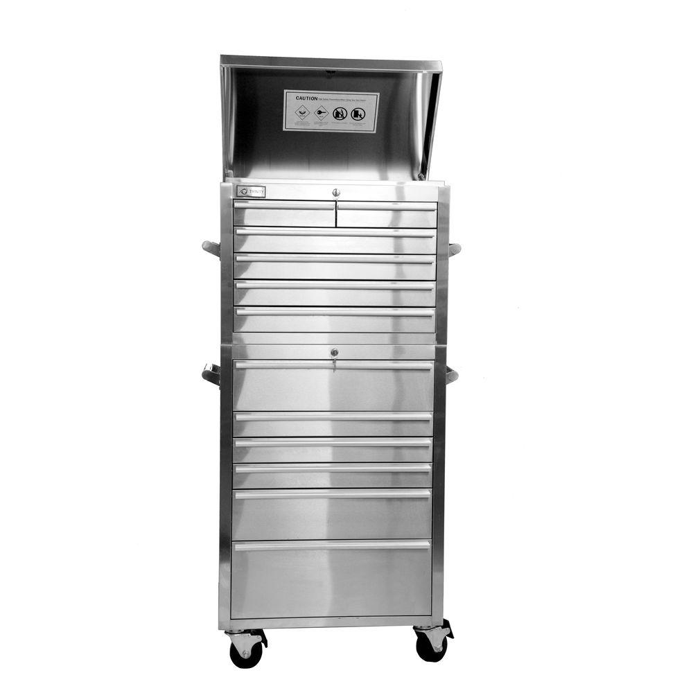 Trinity 27 in. 12-Drawer Combo Tool Chest, Stainless Steel