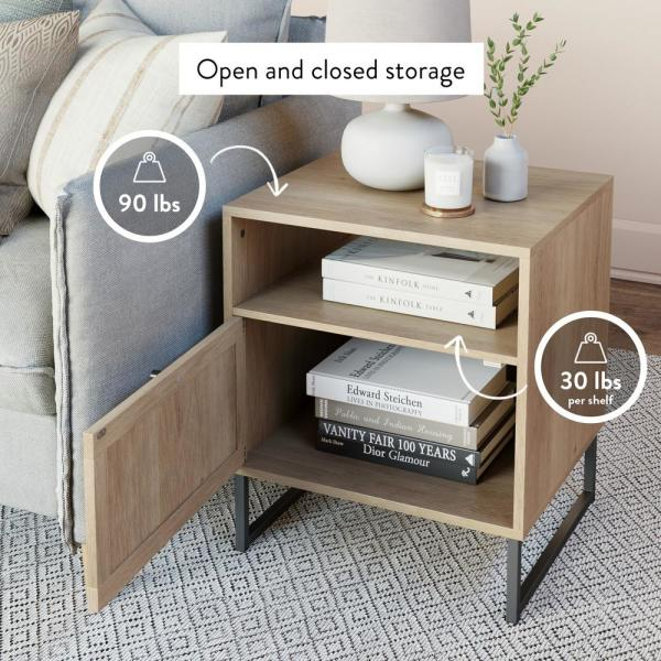 Nathan James Mina Oak-Finish Particleboard Wood Black Modern Accent Storage Living Room Sofa Side End Table Bedroom Nightstand-33201 - The Home Depot