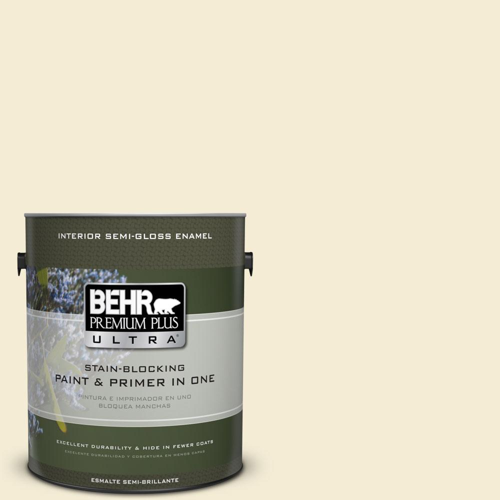 BEHR Premium Plus Ultra 1-gal. #360C-1 Clear Yellow Semi-Gloss Enamel Interior Paint