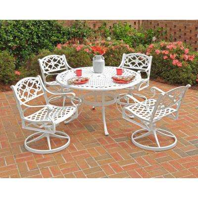 Biscayne 48 in. White 5-Piece Round Swivel Patio Dining Set