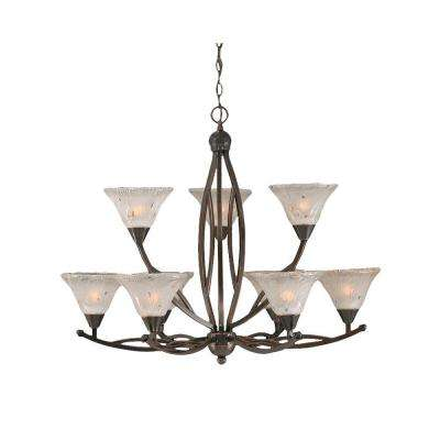 Concord 9-Light Black Copper Chandelier with Frosted Crystal Glass