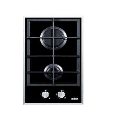 12 in. Gas-on-Glass Cooktop in Black with 2 Burners