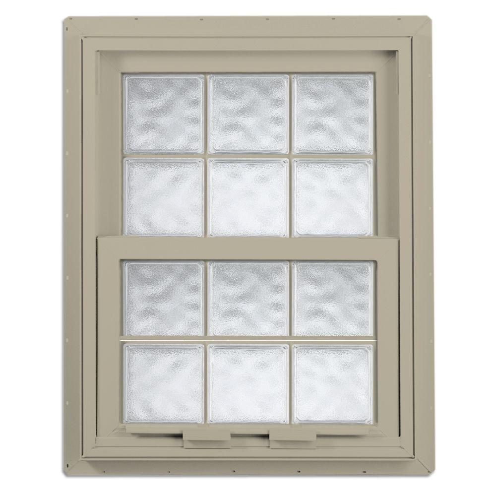 Hy-Lite 28.125 in. x 28.75 in. Acrylic Block Single Hung Vinyl Window - Tan