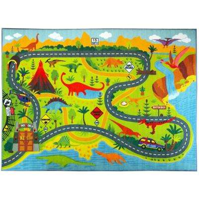 Multi-Color Kids Children Bedroom Dinosaur Dino Safari Road Map Educational Learning Game 3 ft. x 5 ft. Area Rug