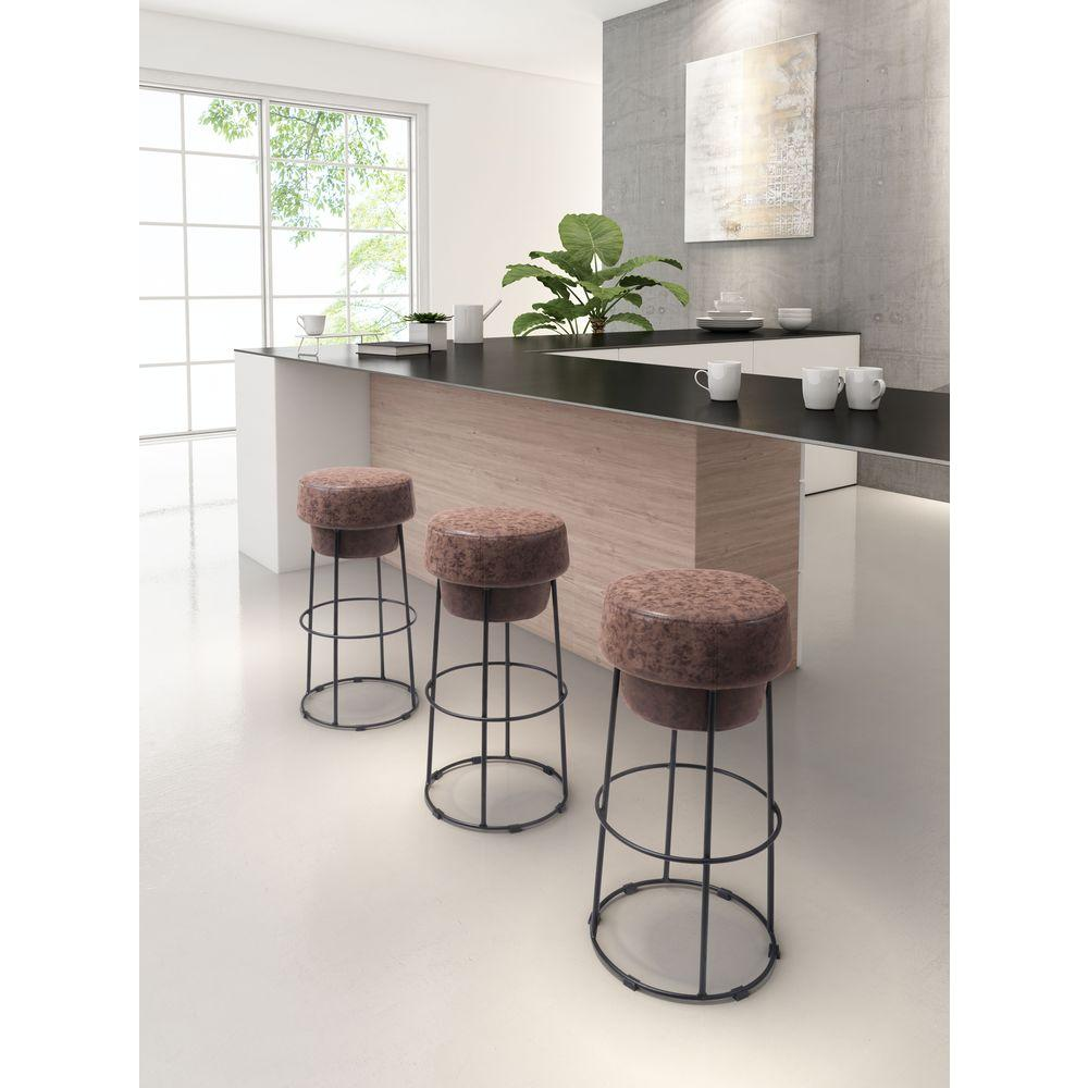 Zuo Pop 29 5 In Natural Brown Cushioned Bar Stool 100196
