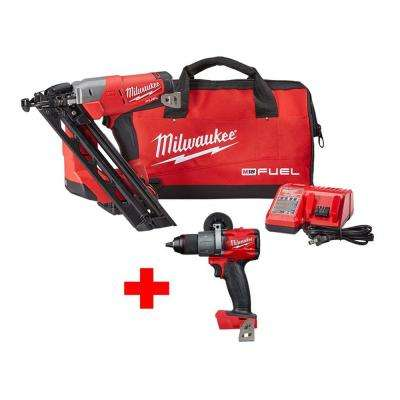 M18 FUEL 18-Volt Lithium-Ion Brushless Cordless 15-Gauge Angled Finish Nailer Kit W/ Free M18 FUEL Hammer Drill