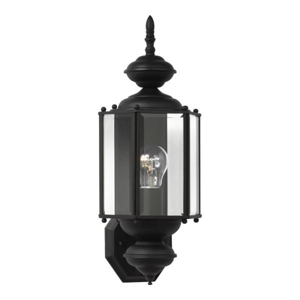 Classico 1-Light Black Outdoor 25.5 in. Wall Lantern Sconce