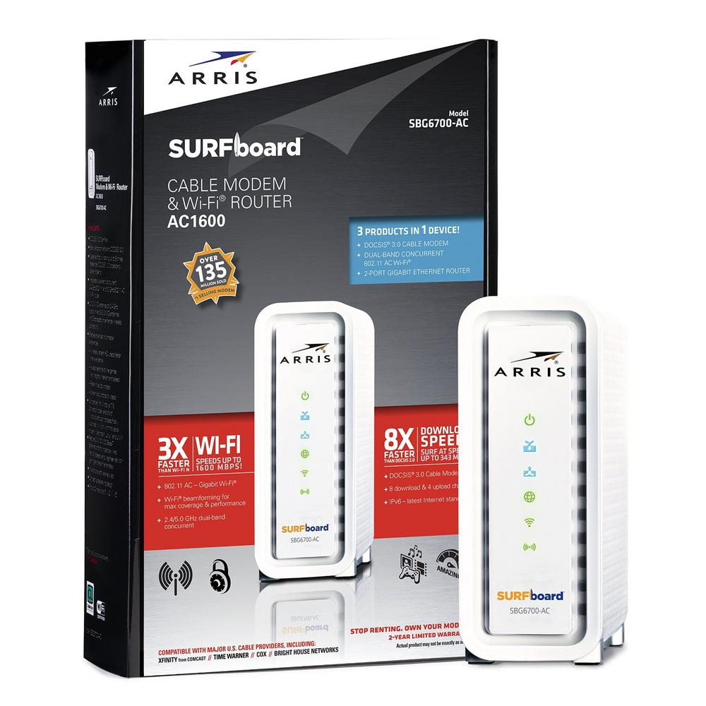 ARRIS / Motorola DOCSIS 3.0 Cable Modem with AC1600 WiFi Router (SBG6700AC)