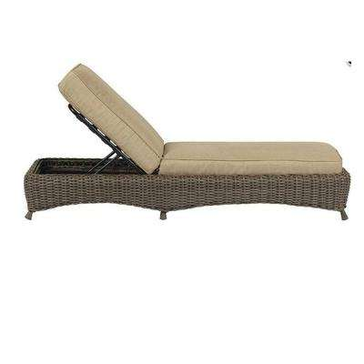 Lake Adela Weathered Gray Patio Chaise Lounge with Sand Cushions