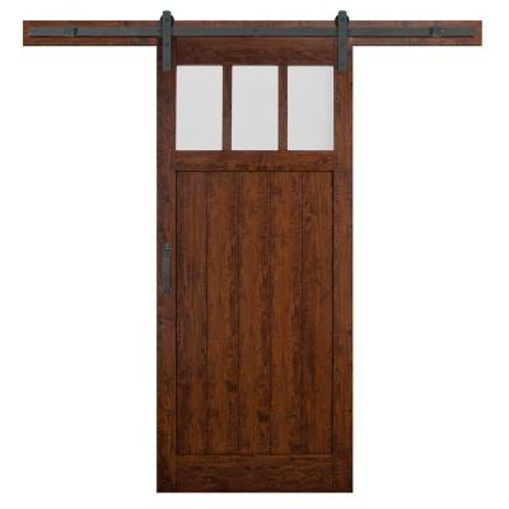 36 in. x 84 in. Craftsman 3-Lite Auburn Interior Sliding Barn Door Slab with Hardware Kit