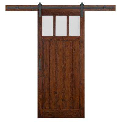 36 in. x 84 in. Craftsman 3-Lite Auburn Interior Sliding Barn Door Slab with Hardware Kit