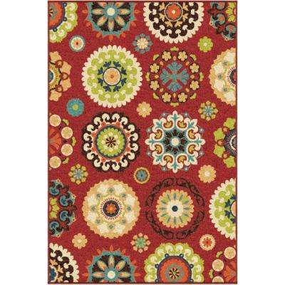 Salsalito Red 4 ft. x 5 ft. Indoor/Outdoor Area Rug