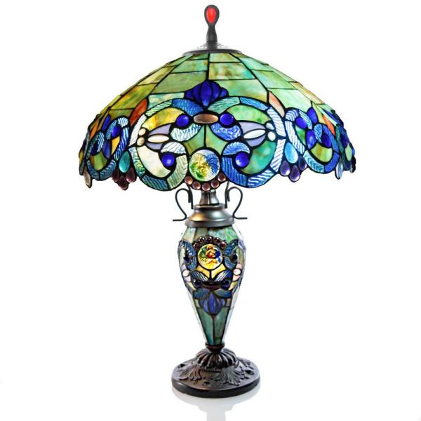 26 in. Blue Indoor Table Lamp with Stained Glass Victorian Style Shade and Lit Base