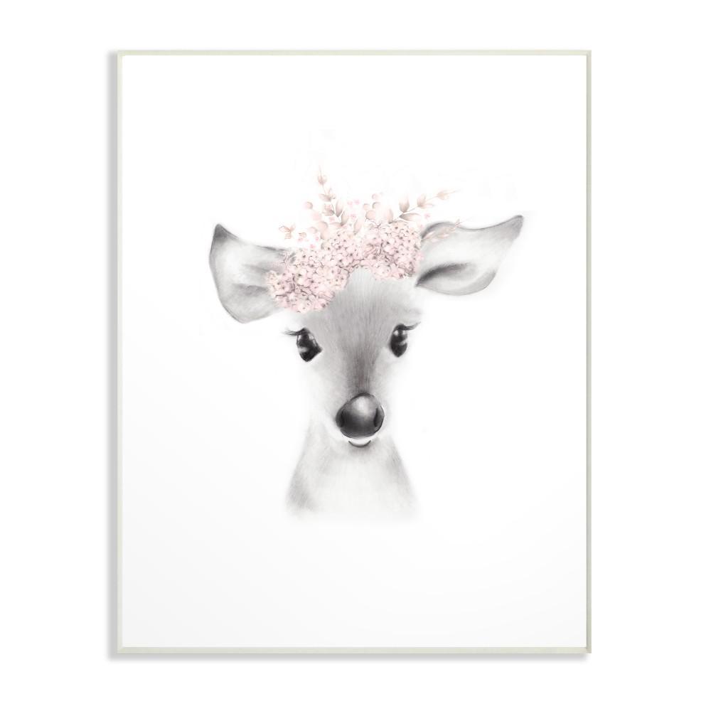 "13 in. x 19 in. ""Sketched Fluffy Deer Flowers"" by Studio Q Printed Wood Wall Art"