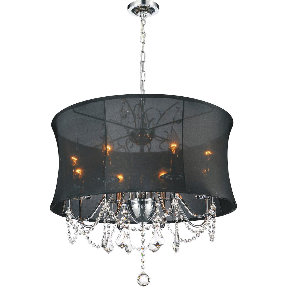 CWI Lighting Charlotte 8-Light Chrome Chandelier with Black shade