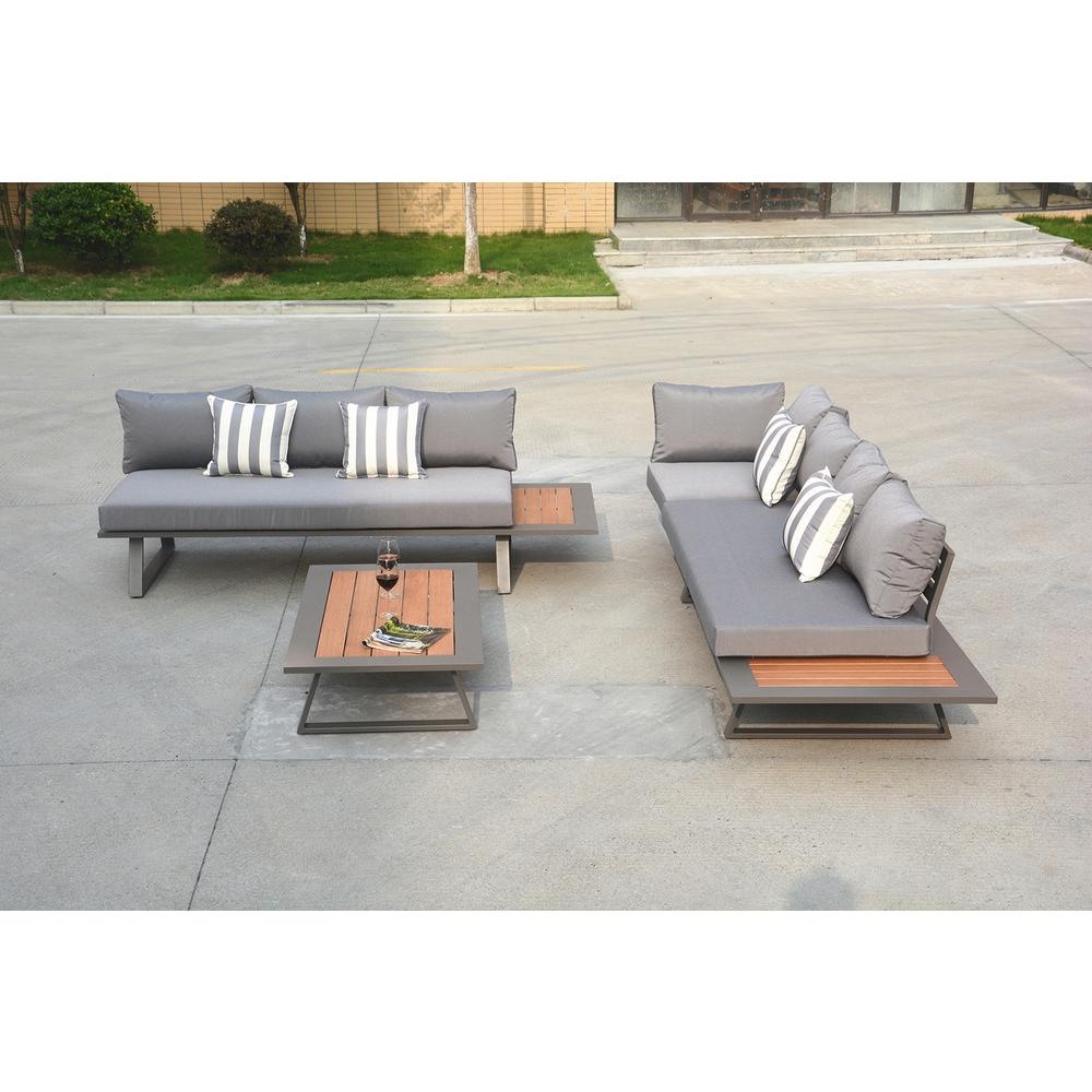 Direct Wicker Michelle Grey 4 Piece Aluminum Outdoor Sofa Set With Dark Grey Cushion And Teak Coffee Table