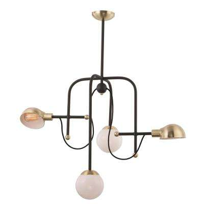 Mingle 21 in. Wide 4-Light Bronze / Satin Brass Chandelier with White Shade