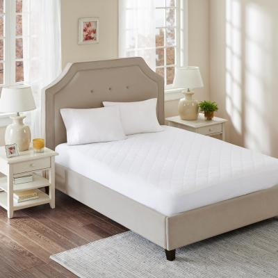 All Natural White King CottonPercale Quilted Mattress Pad with Spandex Snug-on Slip Fit Skirt