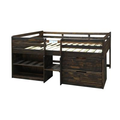 Rustic Oak Twin Low Loft Bed