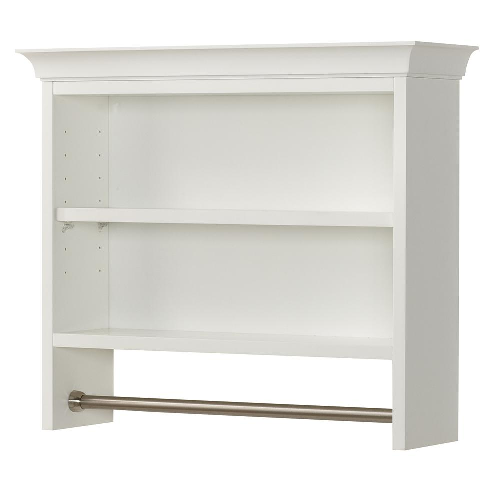 Home Decorators Collection Creeley 7 1/20 In. L X 20 1/2 In. H X 24 In. W  Wall Mount 2 Tier Bathroom Shelf With Towel Bar In Classic White 19EOSWC22    The ...