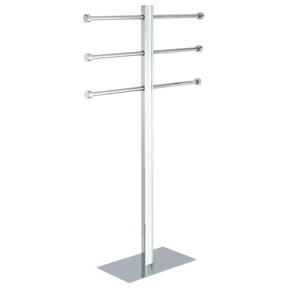 towel stand chrome stilhaus the home depot modern freestanding towel stand in polished chrome chromehccs6021