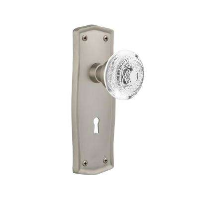 Prairie Plate 2-3/8 in. Backset Satin Nickel Privacy Bed/Bath with Keyhole Crystal Egg and Dart Door Knob