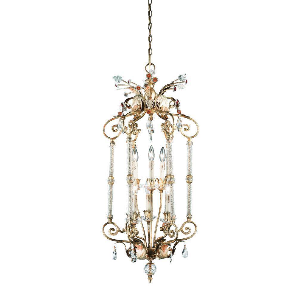 Dahlia Collection 6-Light Antique Gold Hanging Large Pendant