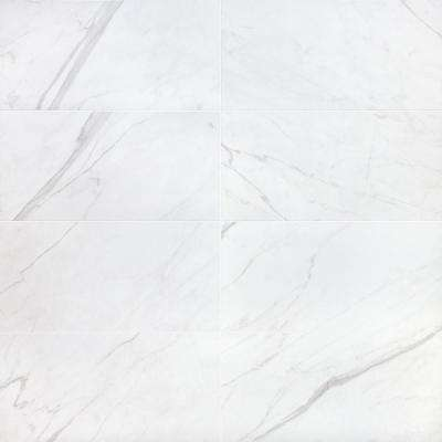 Essential Marble White 12 in. x 24 in. 10mm Matte Porcelain Floor and Wall Tile (8 pieces / 15.49 sq. ft. / box)