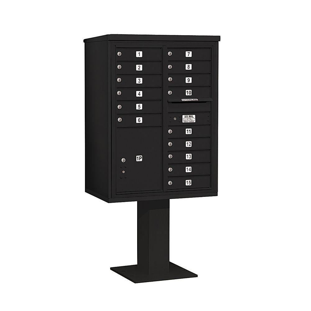 3400 Series 69-1/8 in. 11 Door High Unit Black 4C Pedestal Mailbox with 15 MB1 Doors/1 PL5