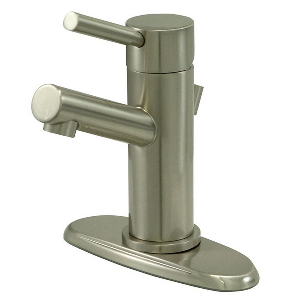 Kingston Brass 4 in. Centerset Single-Handle Bathroom Faucet High-Arc Bathroom Faucet in Satin Nickel