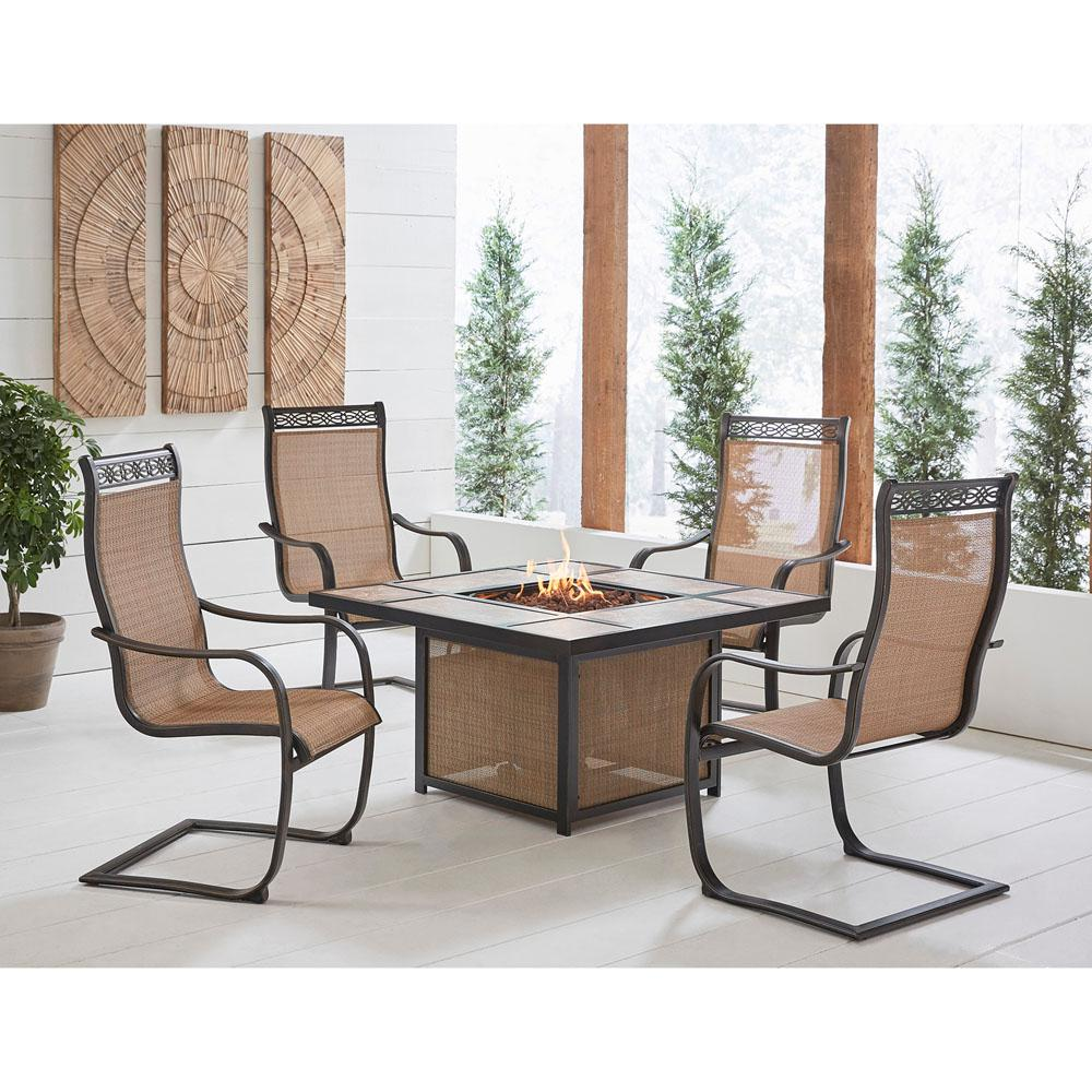Fabulous Hanover Monaco 5 Piece Aluminum Patio Fire Pit Conversation Set With 40 000 Btu Tile Top Propane Fire Pit Coffee Table Squirreltailoven Fun Painted Chair Ideas Images Squirreltailovenorg