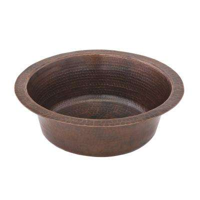 Undermount Round Hammered Copper 14 in. 0-Hole Bar Sink in Oil Rubbed Bronze