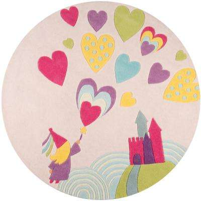 Lil Mo Whimsy Princess Castle Pink 5 ft. x 5 ft. Indoor Kids Round Area Rug