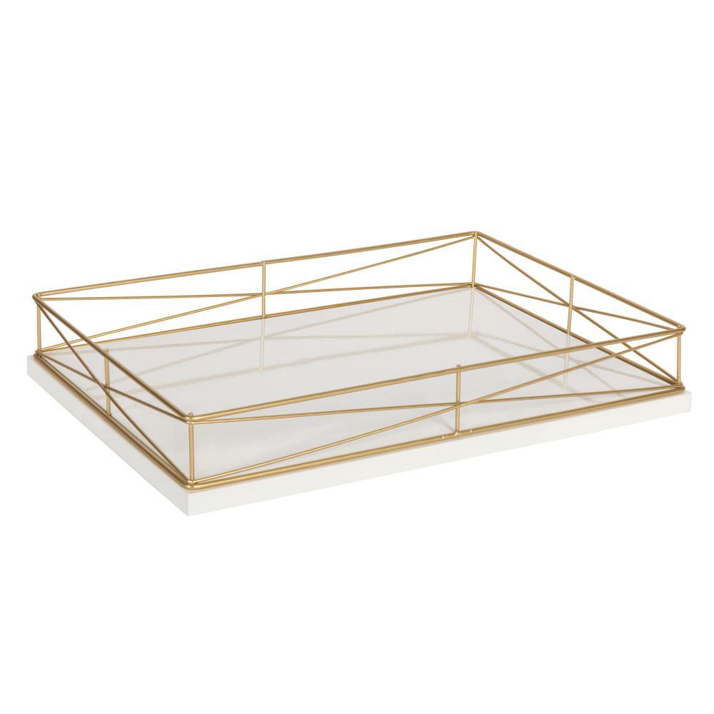 Mendel White/Gold Decorative Tray