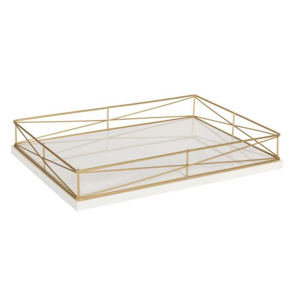 Kate and Laurel Mendel White/Gold Decorative Tray 213139