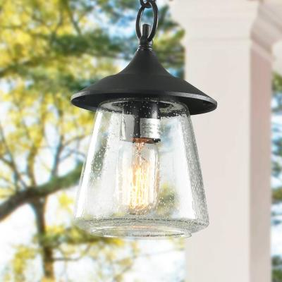 Exterior 1-Light Black Porch Outdoor Hanging Lantern Sconce Patio Light with Seeded Glass Shade LED Compatible