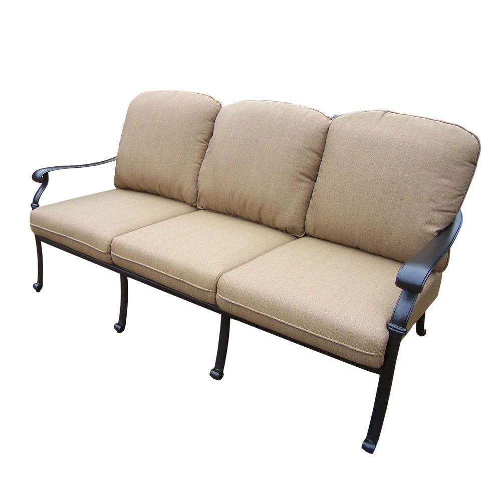 Oakland Living Hampton Patio Sofa With Spunpoly Beige Cushion